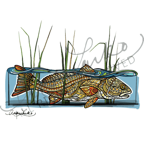 Andrea Larko Zentangle Redfish in the Reeds Sticker