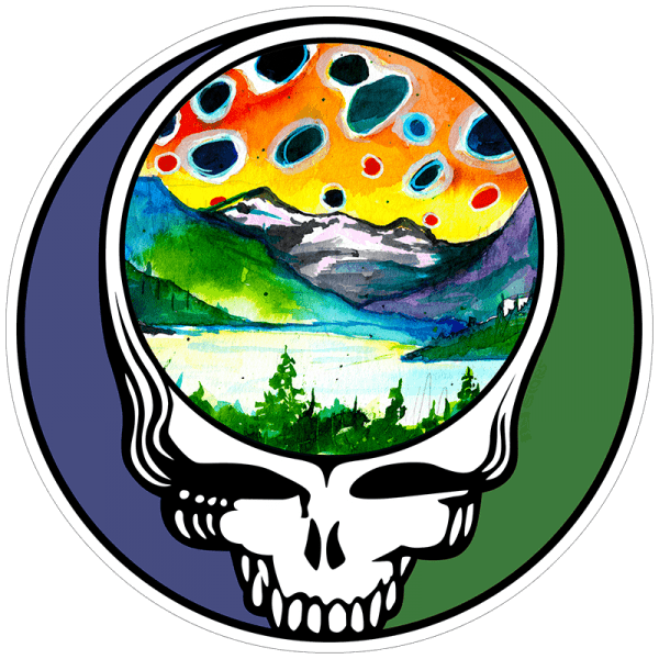 Fly Fishing Stickers and DecalsSteal Your Face Brown Trout Landscape Sticker