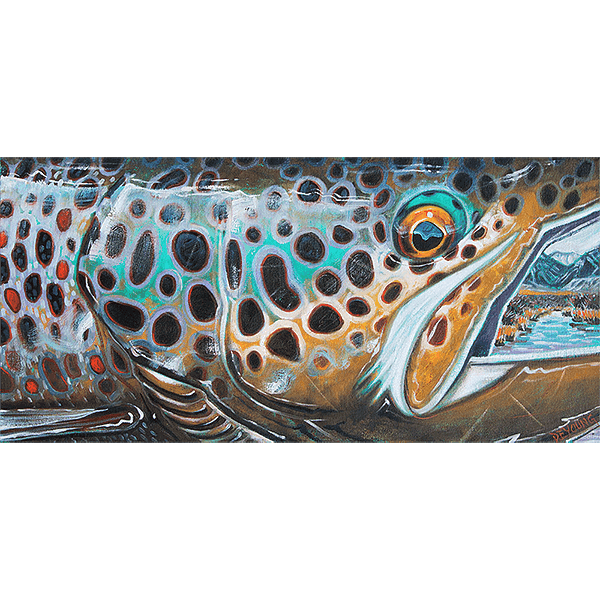 Derek DeYoung - Abstract Brown Trout Fall In The Mountains Decal