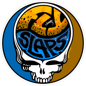 Fly Slaps Steal Your Face Brown Trout Logo Sticker