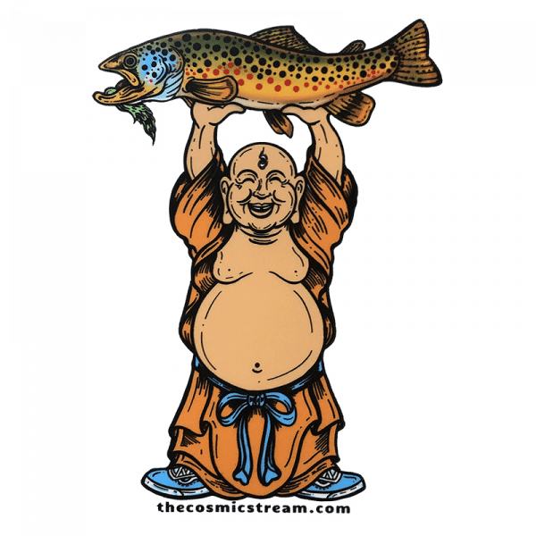 Josh May Laughing Buddha Brown Trout Fly Fishing Sticker