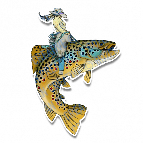 Bozeman Creative Trout Wrangler Fly Fishing Sticker